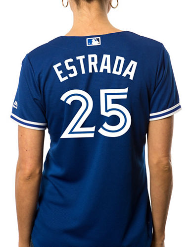 Majestic Ladies Marco Estrada Toronto Blue Jays Cool Base Replica Away Jersey-ROYAL-Large