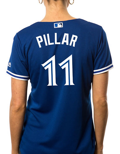 Majestic Ladies Kevin Pillar Toronto Blue Jays Cool Base Replica Away Jersey-ROYAL-Small