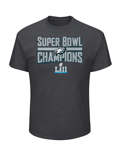 Majestic Philadelphia Eagles NFL Super Bowl LII Sudden Impact Tee-GREY-X-Large