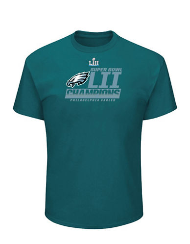 Majestic Philadelphia Eagles NFL Super Bowl LII Fanfare Tee-GREEN-Large