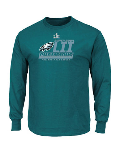 Majestic Philadelphia Eagles NFL Super Bowl LII Fanfare Long Sleeve Tee-GREEN-Large