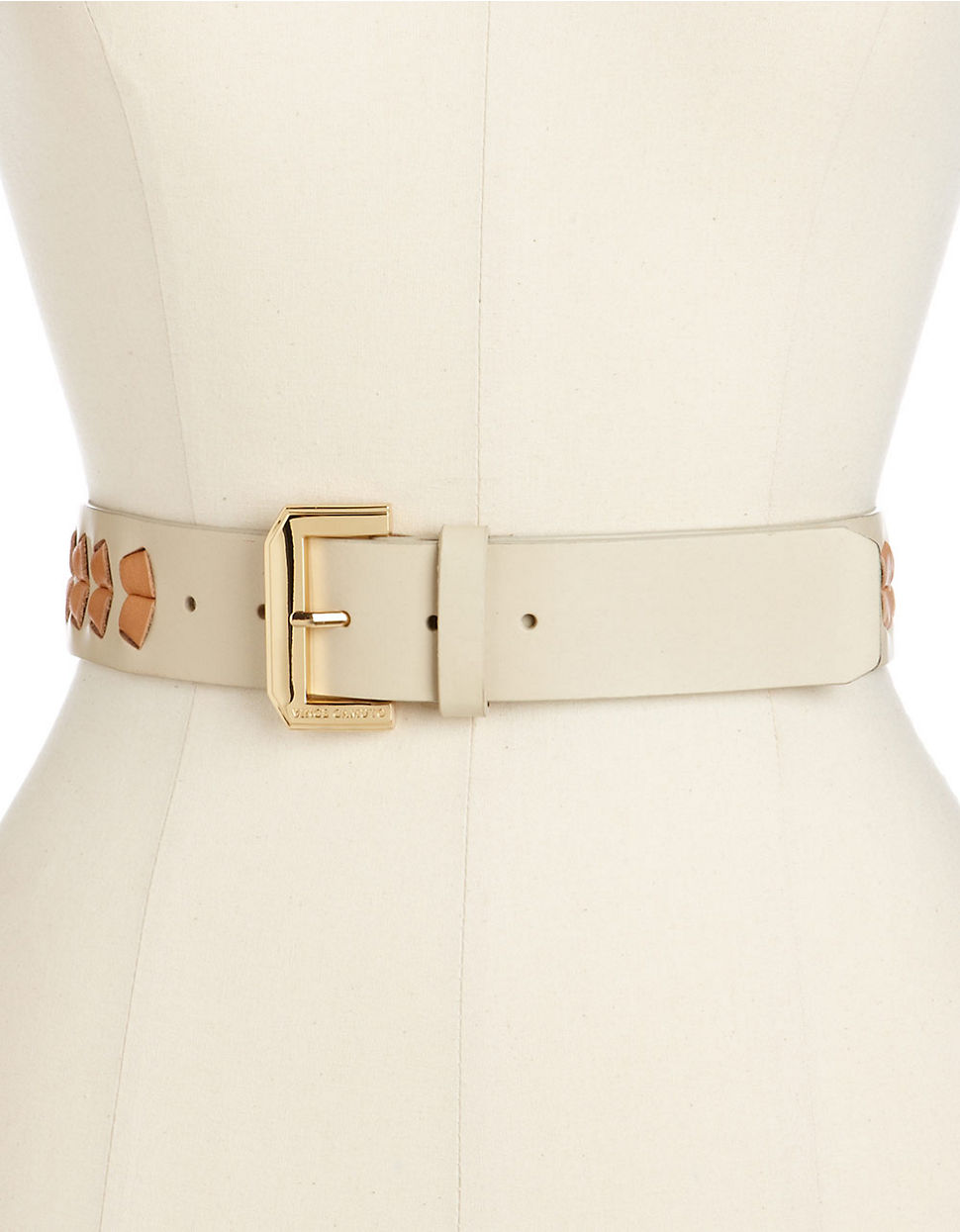 Vince camuto Weekend Casual Belt with Polished Gold Logo Buckle natural Medium
