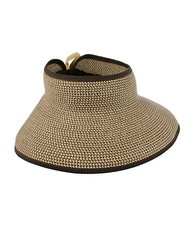 Nine West Tight-Woven Roll Up Sun Visor-BROWN/NATURAL-One Size