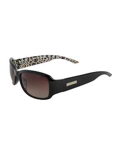 Nine West Small Rectangle Sunglasses-BLACK/LEOPARD-One Size