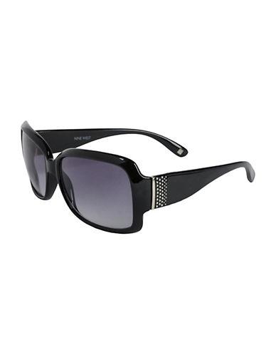 Nine West Large Rectangle Studded Sunglasses-BLACK-One Size