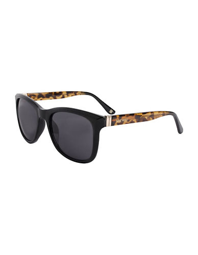 Nine West Thin Wayfarer Sunglasses-BLACK-One Size