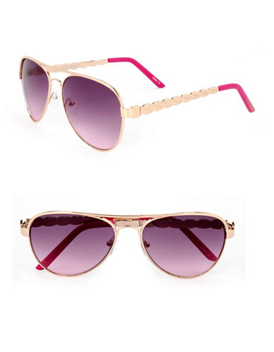 Steve Madden Decorative 58mm Aviator Sunglasses-PINK-One Size