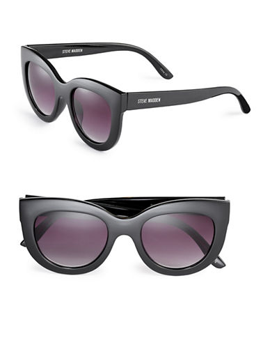 Steve Madden 52mm Modified Cat-Eye Sunglasses-BLACK-One Size