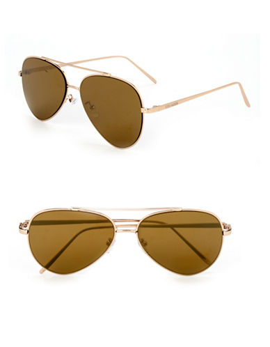 Steve Madden 60mm Aviator Sunglasses-GOLD WITH GOLD MIRRORED LENSES-One Size