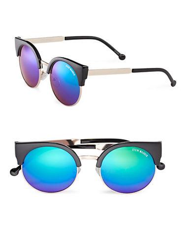 Steve Madden 57mm Round Semi-Rimless Sunglasses-BLACK-One Size