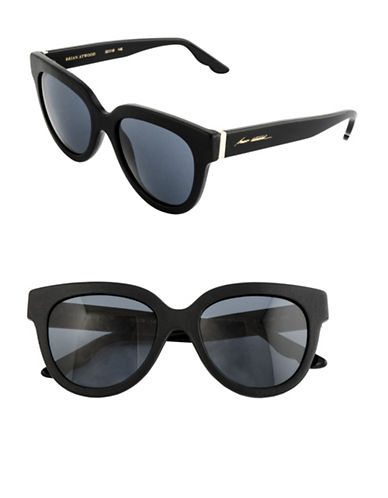 B Brian Atwood 52mm Oval Leather Sunglasses-BLACK-One Size
