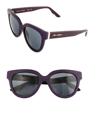 B Brian Atwood 52mm Oval Leather Sunglasses-PURPLE-One Size