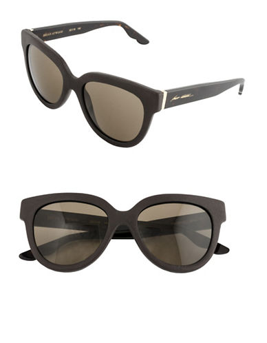 B Brian Atwood 52mm Oval Leather Sunglasses-BROWN-One Size