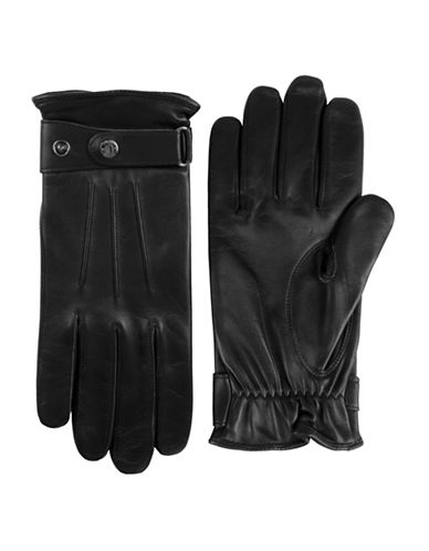 Black Brown 1826 Fleece Lined Nappa Leather Gloves-BLACK-Medium