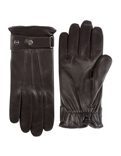 Black Brown 1826 Fleece Lined Nappa Leather Gloves-BROWN-Large