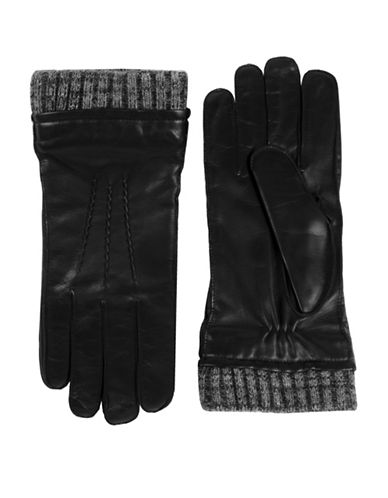 Black Brown 1826 Thinsulate Leather Gloves-BLACK-Medium