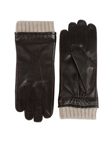 Black Brown 1826 Thinsulate Leather Gloves-BROWN-X-Large