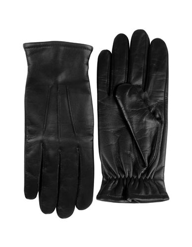 Black Brown 1826 Cashmere-Lined Leather Gloves-BLACK-Large