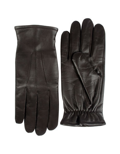 Black Brown 1826 Cashmere-Lined Leather Gloves-BROWN-X-Large
