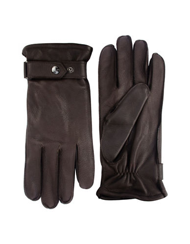 Black Brown 1826 Cashmere-Lined Deerskin Leather Gloves-BROWN-Medium