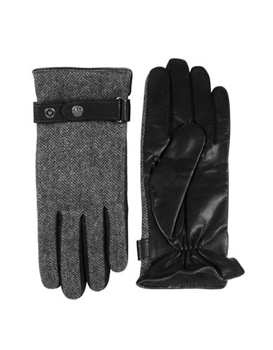 Black Brown 1826 Herringbone Leather Gloves-BLACK-X-Large