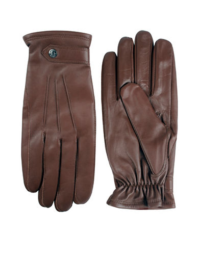 Black Brown 1826 Semi Aniline Leather Three-Point Gloves-BROWN-Medium