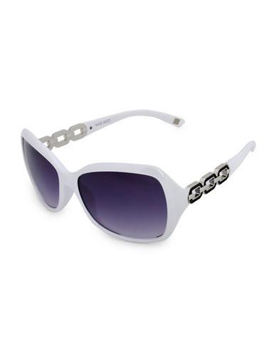 Nine West 59MM Large Modern Square Frame Sunglasses-WHITE-One Size