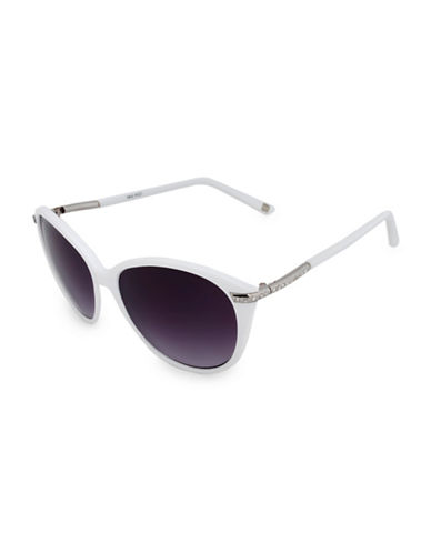Nine West 57MM Modern Cat-Eye Sunglasses-WHITE-One Size