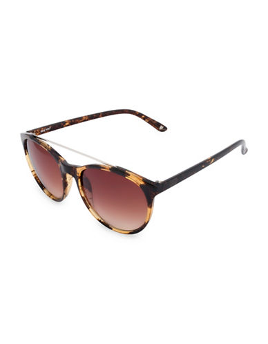 Nine West 54MM Round Sunglasses with Metal Top Bar-BROWN-One Size