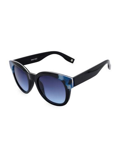 Nine West 50MM Large Round Cat-Eye Sunglasses-BLUE-One Size