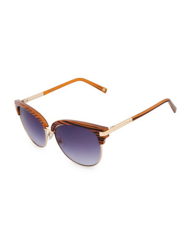 Nine West 55mm Round Club Master Sunglasses-GOLD-One Size