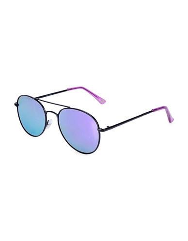 Nine West 51MM Round Metal Sunglasses-BLACK-One Size