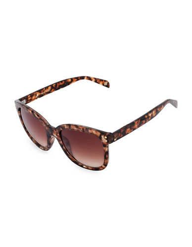 Nine West 53MM Modified Square Sunglasses-BROWN-One Size