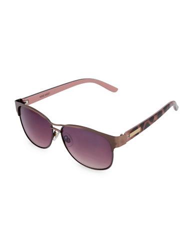 Nine West 56MM Modified Wayfarer Sunglasses-BROWN-One Size