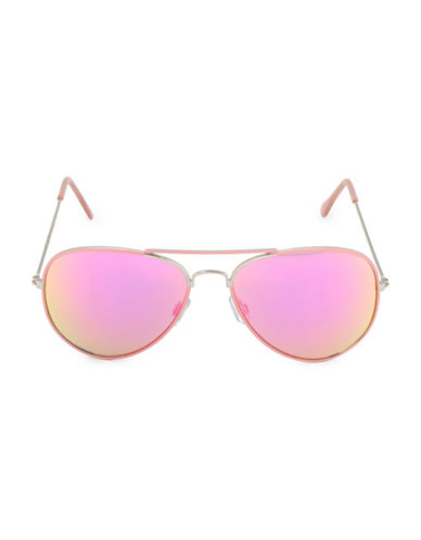 Steve Madden 59mm Painted Aviator Sunglasses-PEACH-One Size