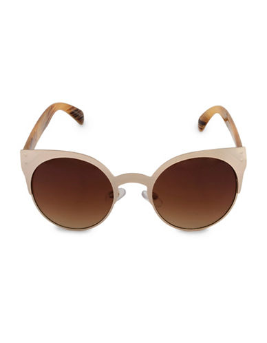 Steve Madden 50mm Round Sunglasses-GOLD-One Size