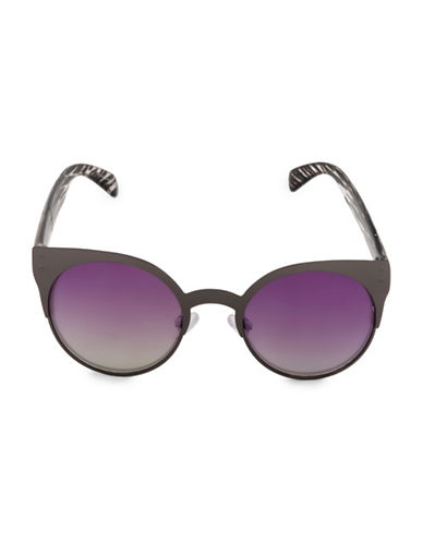 Steve Madden 50mm Round Sunglasses-SILVER-One Size