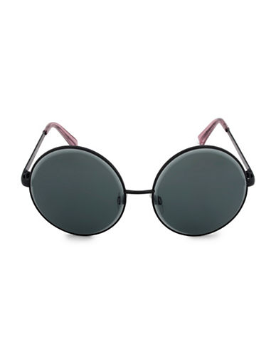 Steve Madden 59mm Beveled Round Sunglasses-BLACK-One Size