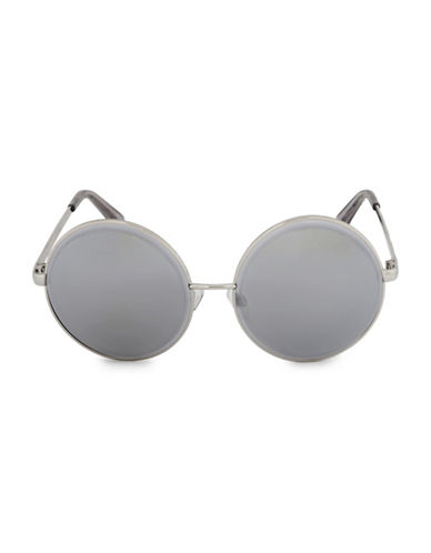 Steve Madden 59mm Beveled Round Sunglasses-GREY-One Size