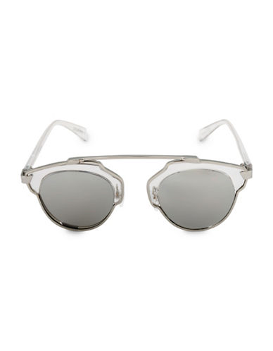 Steve Madden 48mm Mod Round Sunglasses-WHITE-One Size