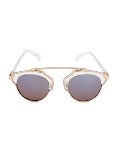 Steve Madden 48mm Mod Round Sunglasses-GOLD-One Size