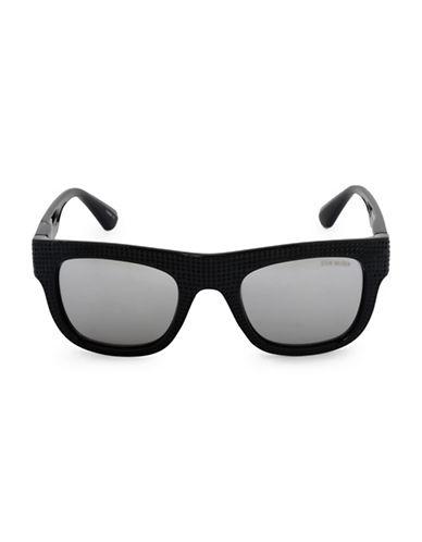 Steve Madden 51mm Perforated Flat Top Square Sunglasses-BLACK-One Size