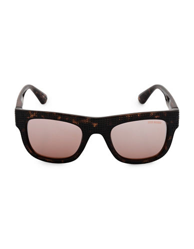 Steve Madden 51mm Perforated Flat Top Square Sunglasses-BROWN-One Size
