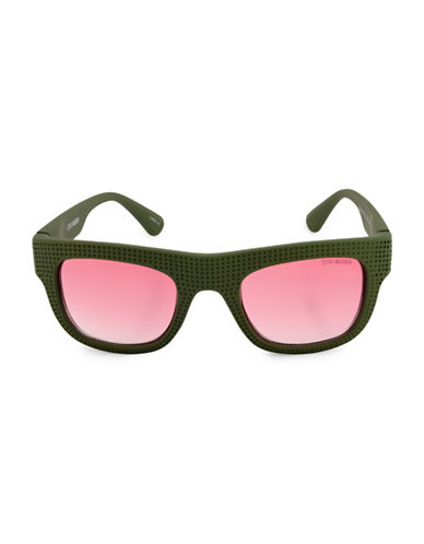 Steve Madden Perforated Flat Top 51mm Square Sunglasses-GREEN-One Size