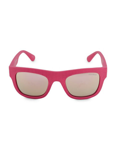 Steve Madden Perforated Flat Top 51mm Square Sunglasses-PINK-One Size