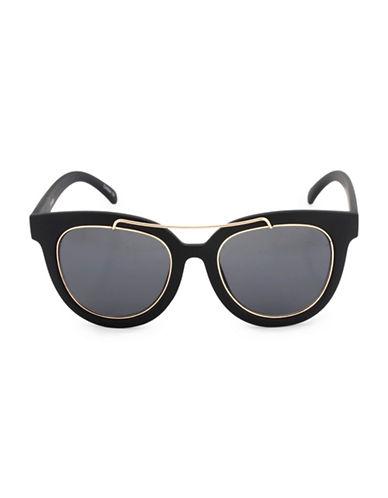 Steve Madden 52mm Round Brow-Bar Sunglasses-BLACK-One Size