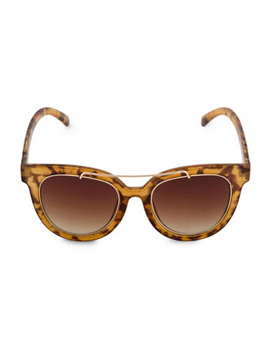 Steve Madden 52mm Round Brow-Bar Sunglasses-BROWN-One Size