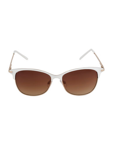 Steve Madden Enamel Trimmed 53mm Square Sunglasses-WHITE-One Size