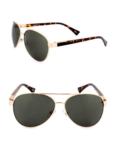 Dockers Tortoiseshell 57mm Aviator Sunglasses-SMOKE-One Size