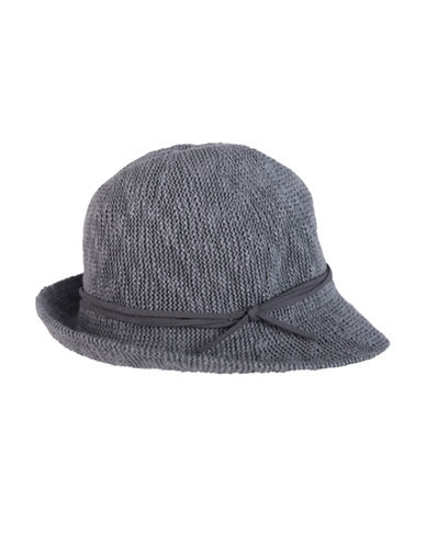 Nine West Textured Knit Fedora-CHARCOAL-One Size